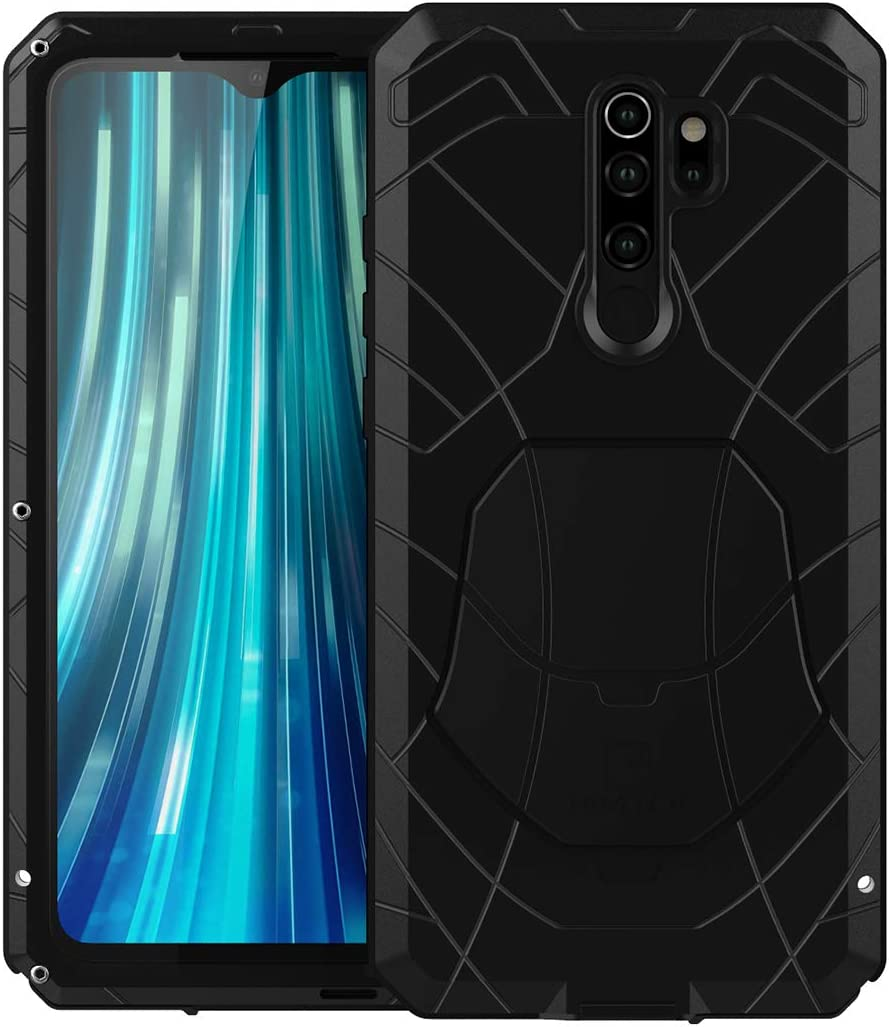 Amazon Com Ddj Case For Redmi Note 8 Pro Protective Cover With Tempered Film Hard Armor Aluminum Heavy Duty Bumper Hard Tough Protectctive Shock Reduction Dust Proof Case Black