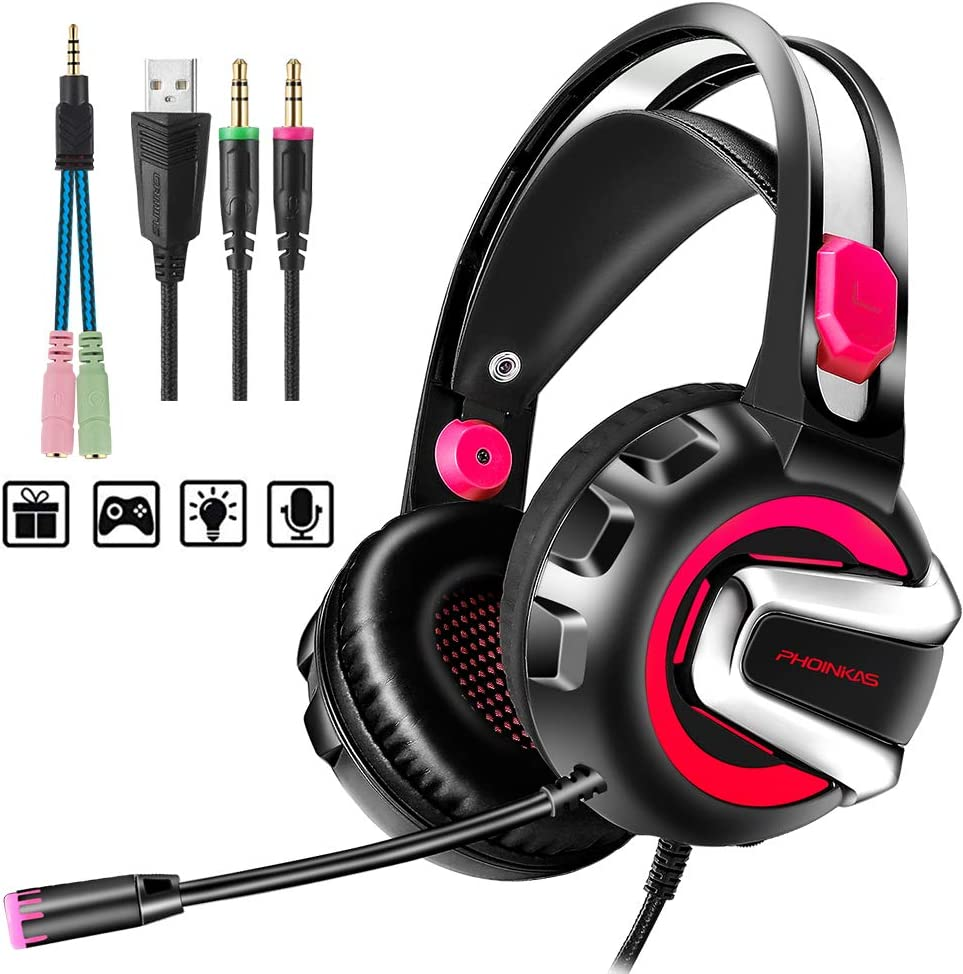 Gaming Headset with Microphone, 7.1 Stereo Surround Sound Wired Over Ear Headphone for Xbox One, PS4, PC, Laptop, Nintendo Switch and other 3.5mm devices, LED Light, Noise Isolation, Steel Frame - Red
