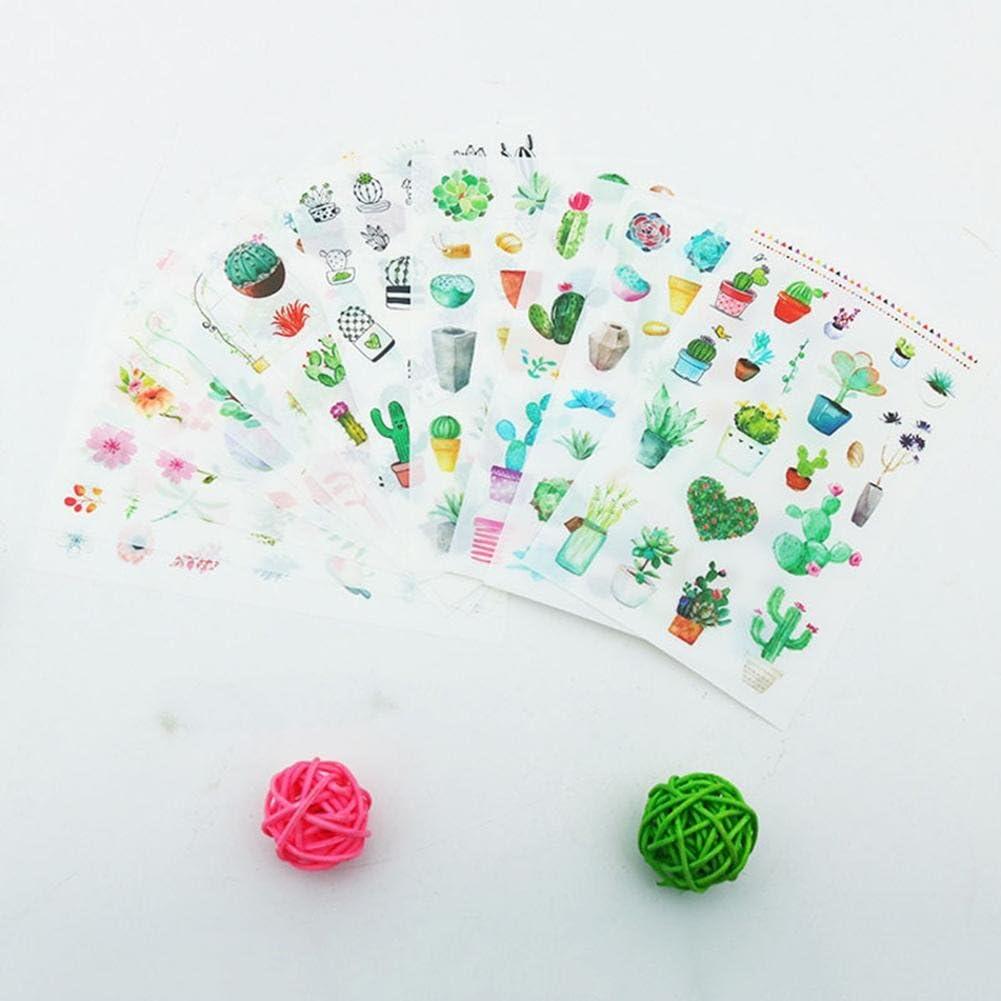 para port/átil Keyzone Green Cactus Pegatinas 6 Piezas//Paquete Diario /álbum de Escritura DIY decoraci/ón /álbum de colecci/ón Hojas de Plantas Etiqueta