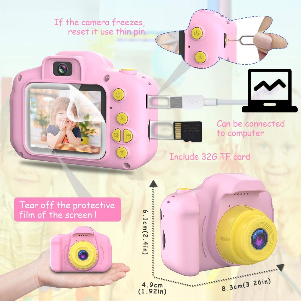 Best Birthday Gifts for 3-10 Year Old Girls Blijo Upgrade Kids Selfie Camera 1080p Digital Video Cameras Toddler Children Portable Toy for Girls Age 3 4 5 6 7 8 with 32GB SD Card Pink