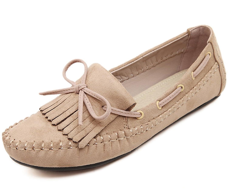 Aisun Women's Comfy Sweet Bowknot Tassel Flat Loafers