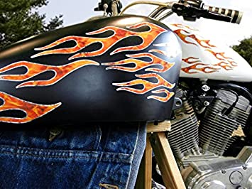 Amazon Com East Coast Vinyl Werkz No 28 28piece Set True Fire Silver Foil Old School Flame Decals For Motorcycle Tank Fenders Helmet Automotive