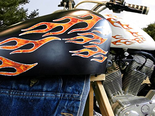 No.28 - 28piece set - True Fire/Silver Foil - Old School Flame decals for MotorCycle tank, fenders, helmet ()