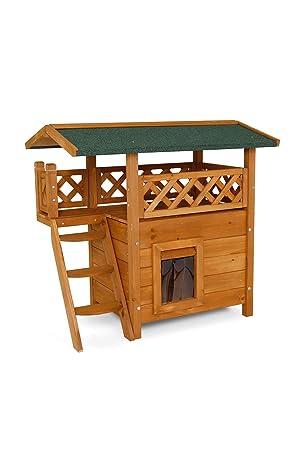 Dibea ch10810, Gato Casa Lodge (Madera, 77 x 50 x 73 cm) con terraza y escaleras: Amazon.es: Productos para mascotas