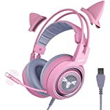SOMIC G951pink Gaming Headset for PC, PS4, Laptop: 7.1 Virtual Surround Sound Detachable Cat Ear Headphones LED, USB, Lightwe