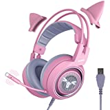SOMIC G951pink Gaming Headset for PC, PS4, Laptop: 7.1 Virtual Surround Sound Detachable Cat Ear Headphones LED, USB…
