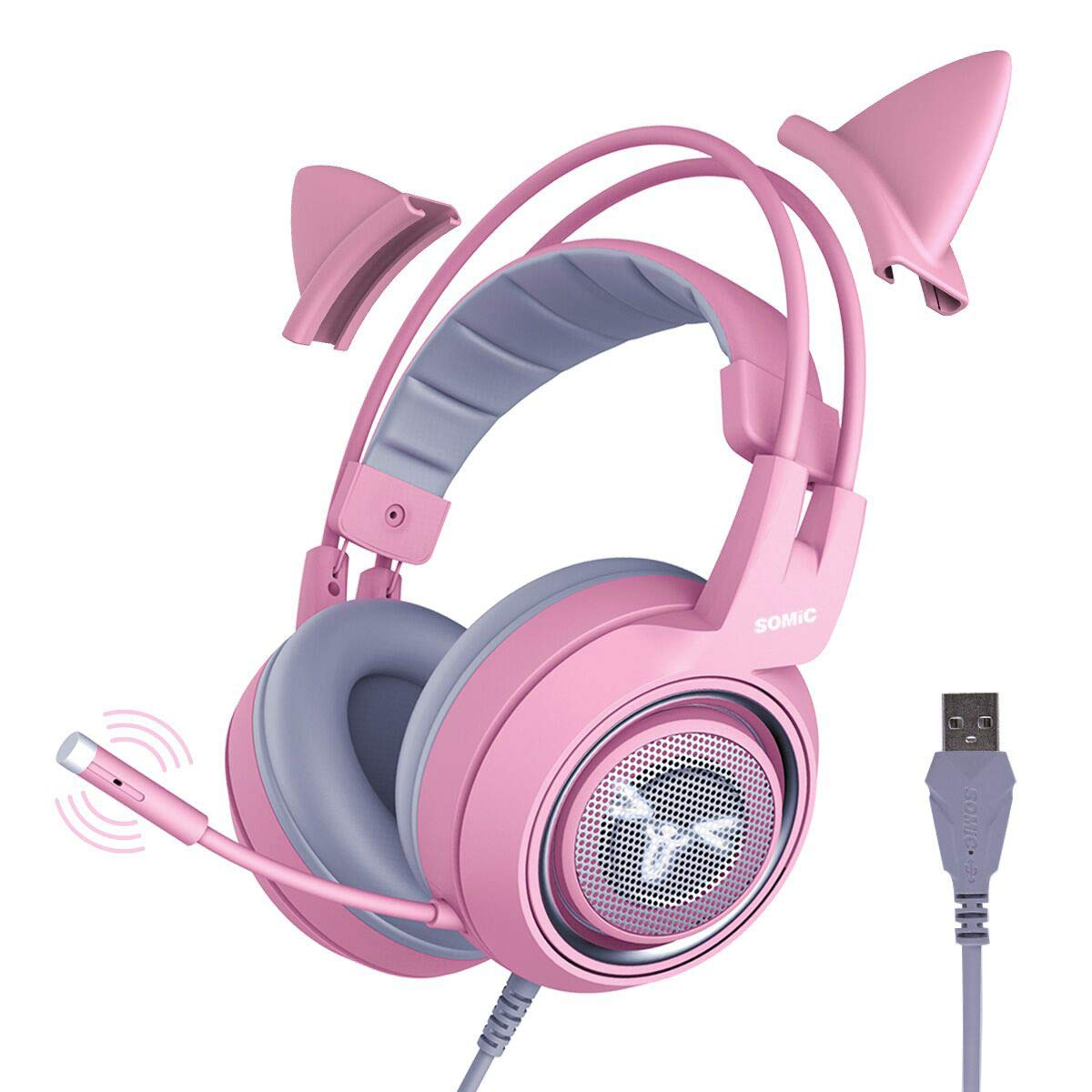SOMIC G951pink Gaming Headset for PC, PS4, Laptop: 7.1 Virtual Surround Sound Detachable Cat Ear Headphones LED, USB, Lightweight Self-Adjusting Over Ear Headphones for Girlfriend Women SOMIC-G951PINK