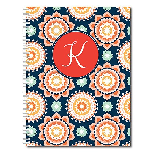 Modern Floral Personalized Monogram Spiral Notebook / Journal, 120 College Ruled or Checklist Pages, durable laminated cover, and wire-o spiral. 8.5x11 | 5.5x8.5 | Made in the (Covered Journal)