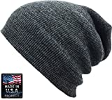 SKIHAT-LONG DGY Solid Plain Beanie Skully Made in USA