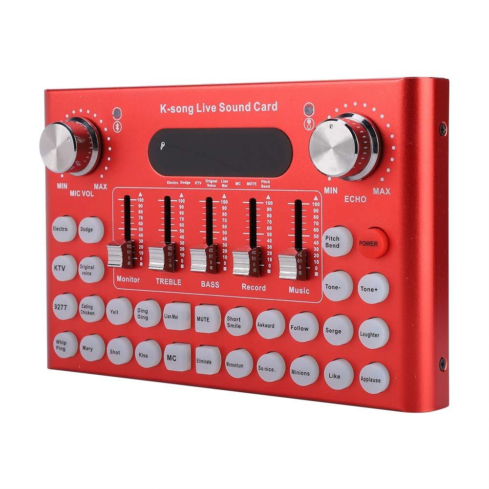 Wendry Multifunktionale Live-Soundkarte,Bluetooth Live Soundkarte Intelligente Externe Soundkarte mit 18 Mehrere lustige Sounds und Effekte f/ür Aufnahme//Musik//Computer Live usw schwarz