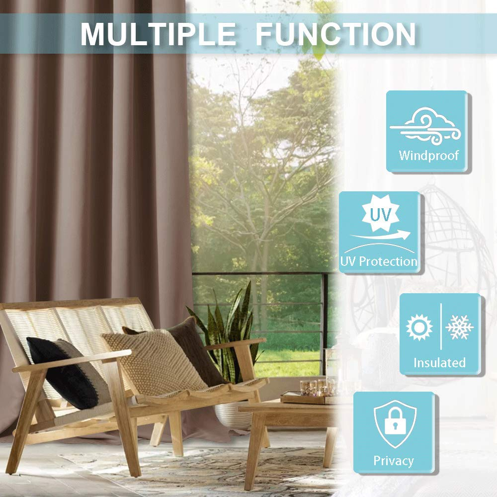 Mocha Gazebo Outdoor Deck Curtain Water Proof Exterior Reduce Heat Loss Stain Proof with Antirust Grommet Width 52 by Length 84 Inch RYB HOME Outdoor Patio Curtains Single Piece