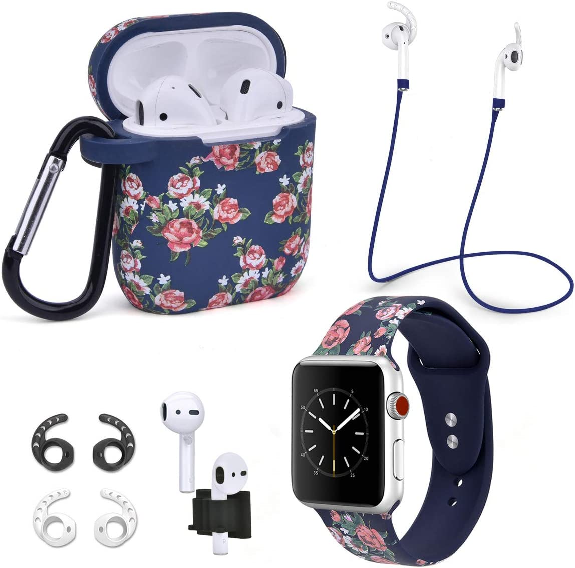 Airpods Case Compatible with Airpods 1 & 2 Protective Floral Print Silicone Cover/Airspo Band Compatible with Apple Watch Band 38mm 40mm 42mm 44mm (Navy Rose+42/44mm)