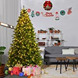Goplus Pre-Lit Christmas Tree Artificial PVC Spruce Hinged w/ 700 LED Lights & Solid Metal Legs (7 Ft)