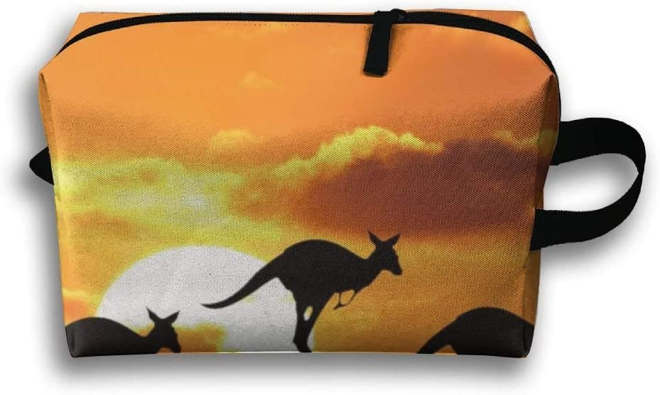 HHJPKUY Jump Kangaroo Sunset Travel Toiletry Bag Luggage Bag Organizer Storage Bag Travelling Bag
