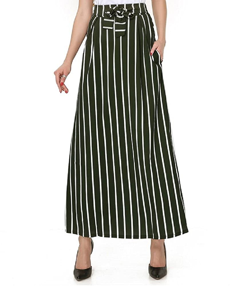 Green Moxeay Women Vintage Stripe High Waisted Long Maxi Skirts with Pocket