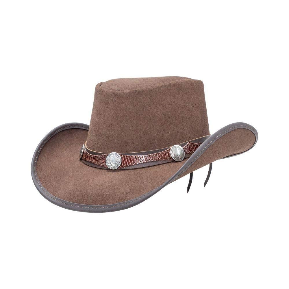 American Hat Makers Plainsman-Blazer Band by Double G Hats Cowboy Leather Hat, Mocha - XX-Large