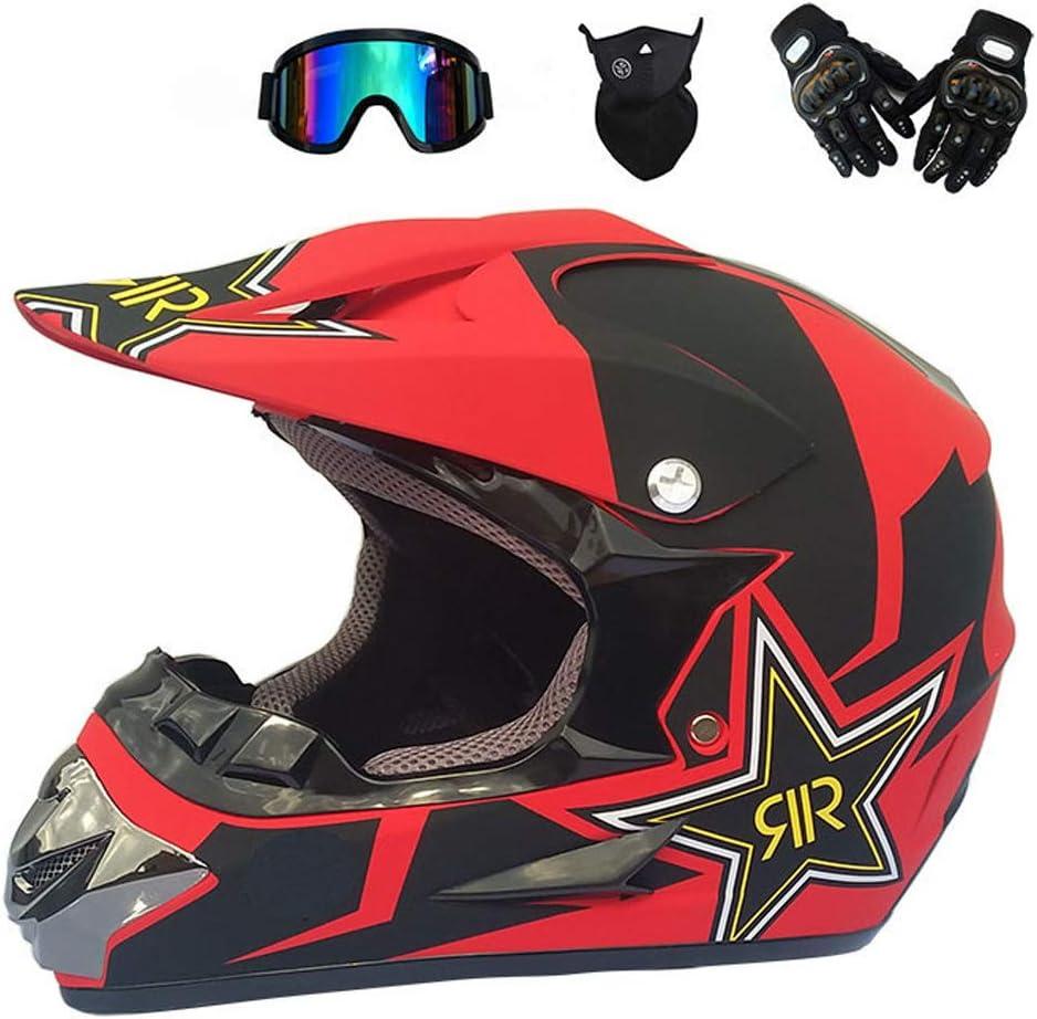 VOMI Adulto Motocross Casco, Casco Integral de Campo a Través Four Seasons Adulto Motocross, D. O. T Certified, Gafas, Máscaras, Guantes 4PCS, S-XL: 52-59 CM