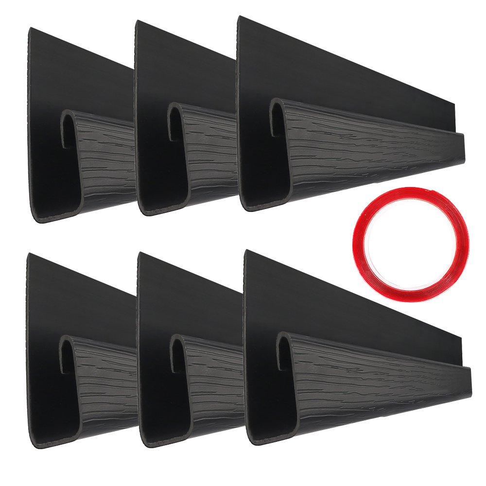 """J Channel Cable Raceway - 70.8"""" Desk Cord Management System - Wire Cover Kit with Mounting Tape - Wood Grain 6 Count Cable Organizer for Office, Home, Kitchen (11.8"""" Each, Black)"""