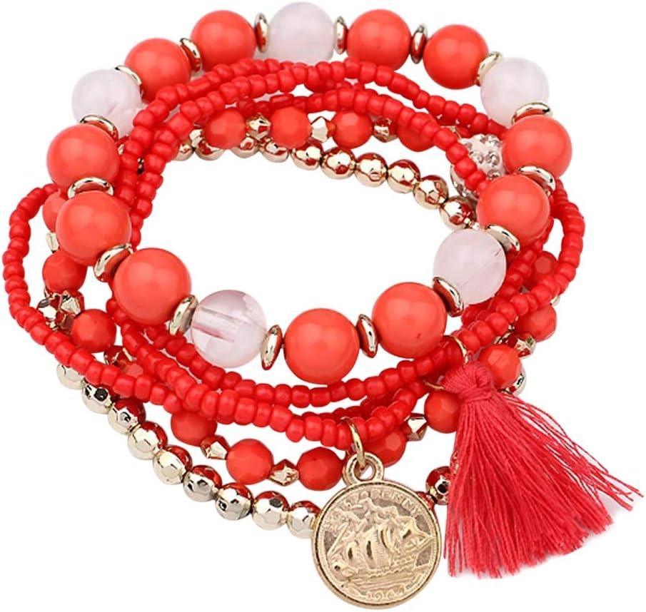 WARMWORD Pulseras Brazalete Perlas para Mujer Pulsera Perlas Infinita Ajustable, Brazalete Boda Regalos Cumpleaños para Mujeres (Rojo, Incluye: Pulsera de perlas con flecos 1PC.)