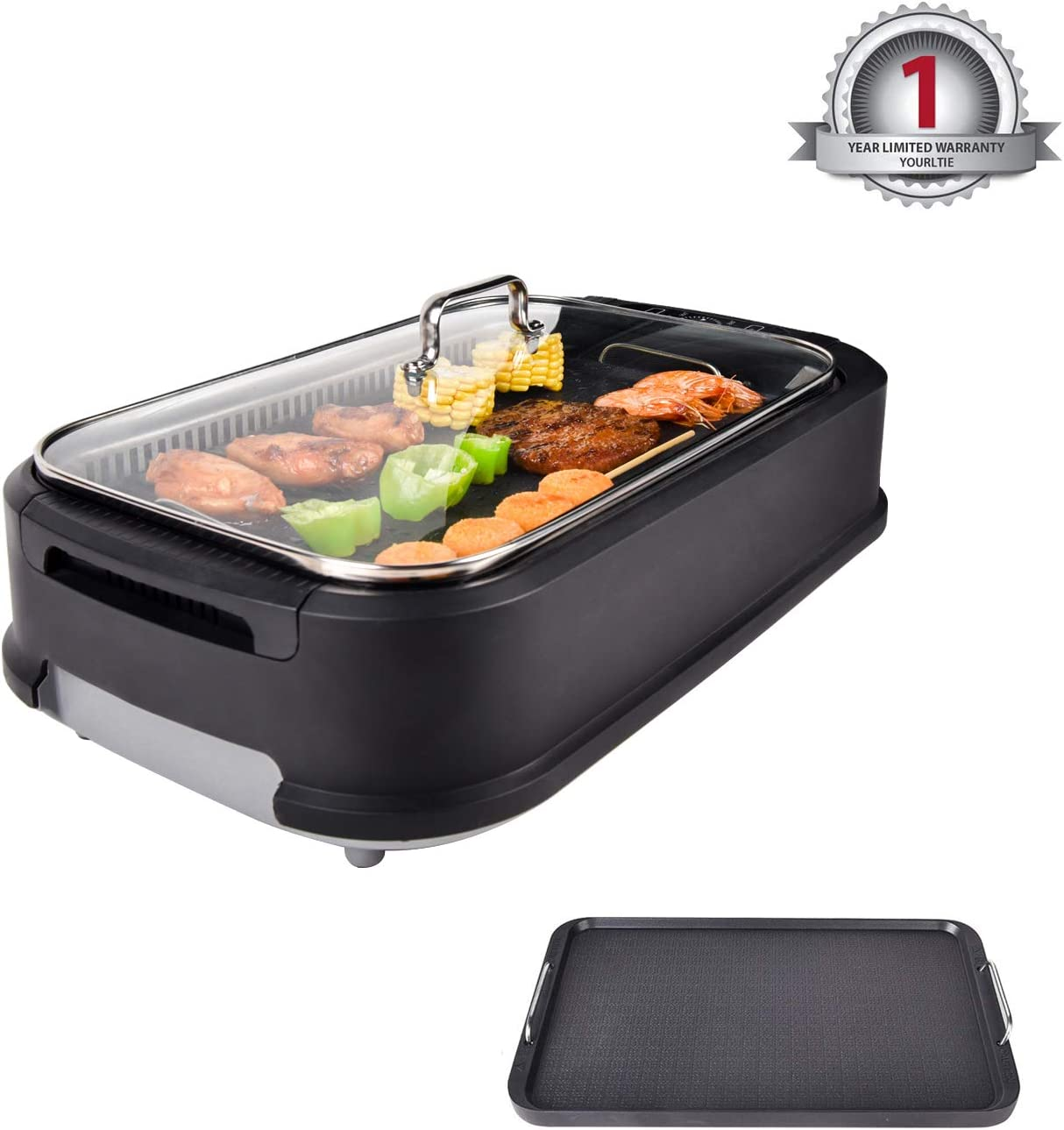 YOURLITE Electric Smokeless Grill with Tempered Glass Lid, Indoor BBQ Grilling and Searing with Grill Grate and Griddle Plate
