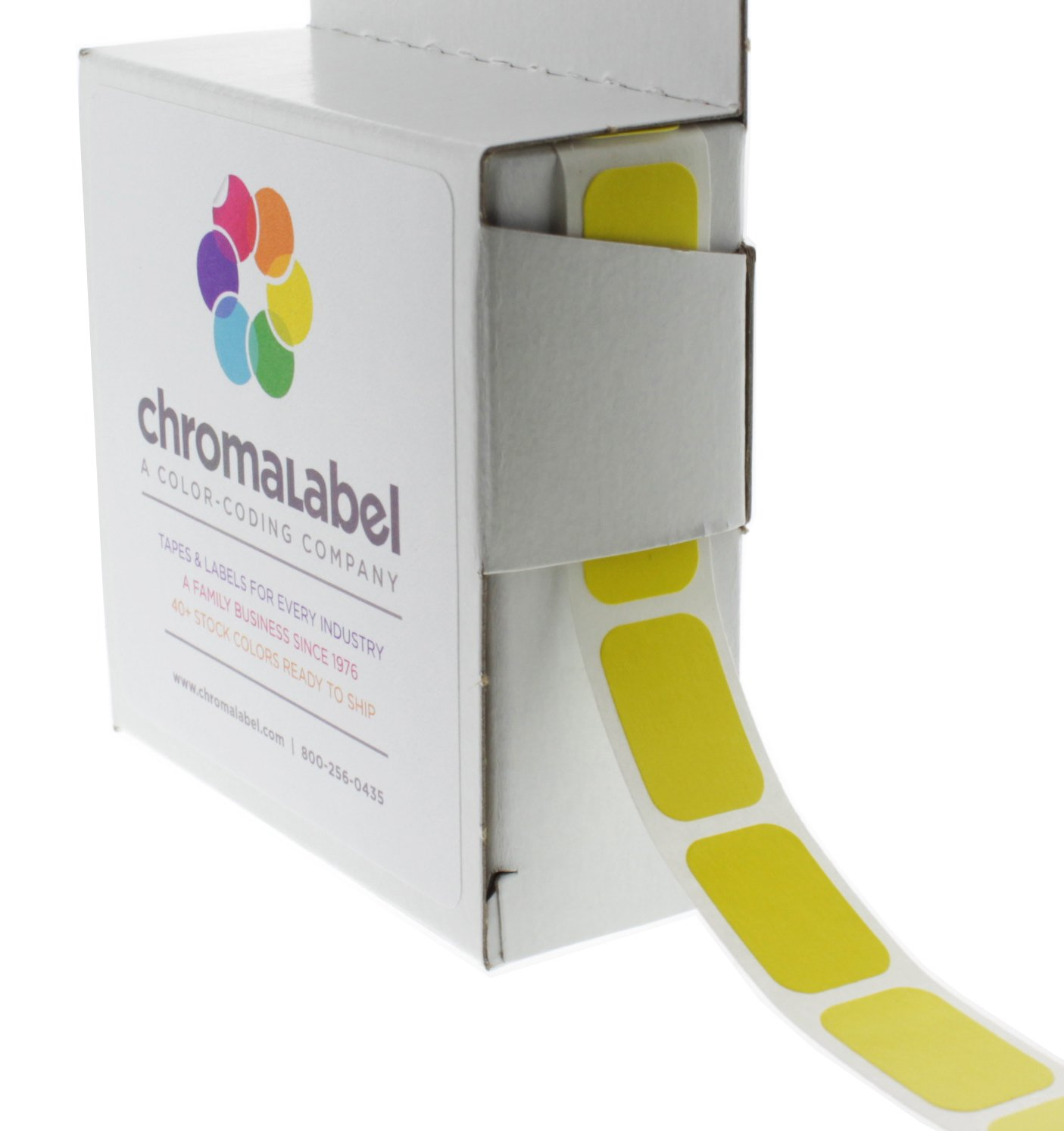 ChromaLabel 1/2 x 3/4 inch Color-Code Labels | 500/Dispenser Box (Yellow)