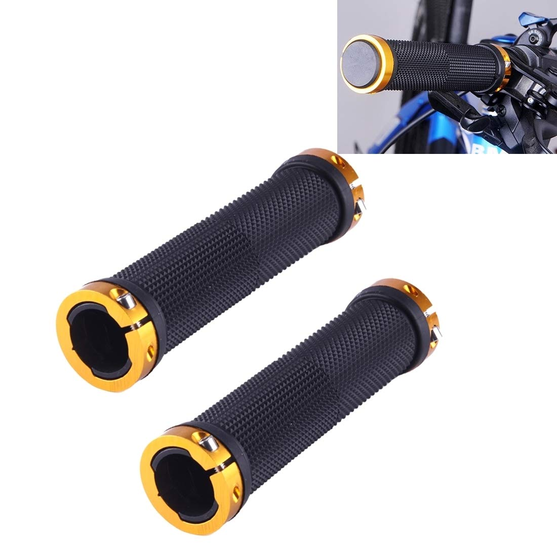 gold Lanbinxiang@ Bicycle Hand Grip NonSlip Double Lock Straight Type, Suitable for Diameter 2021mm, Rubber and Aluminum Alloy Safety (color   Black)