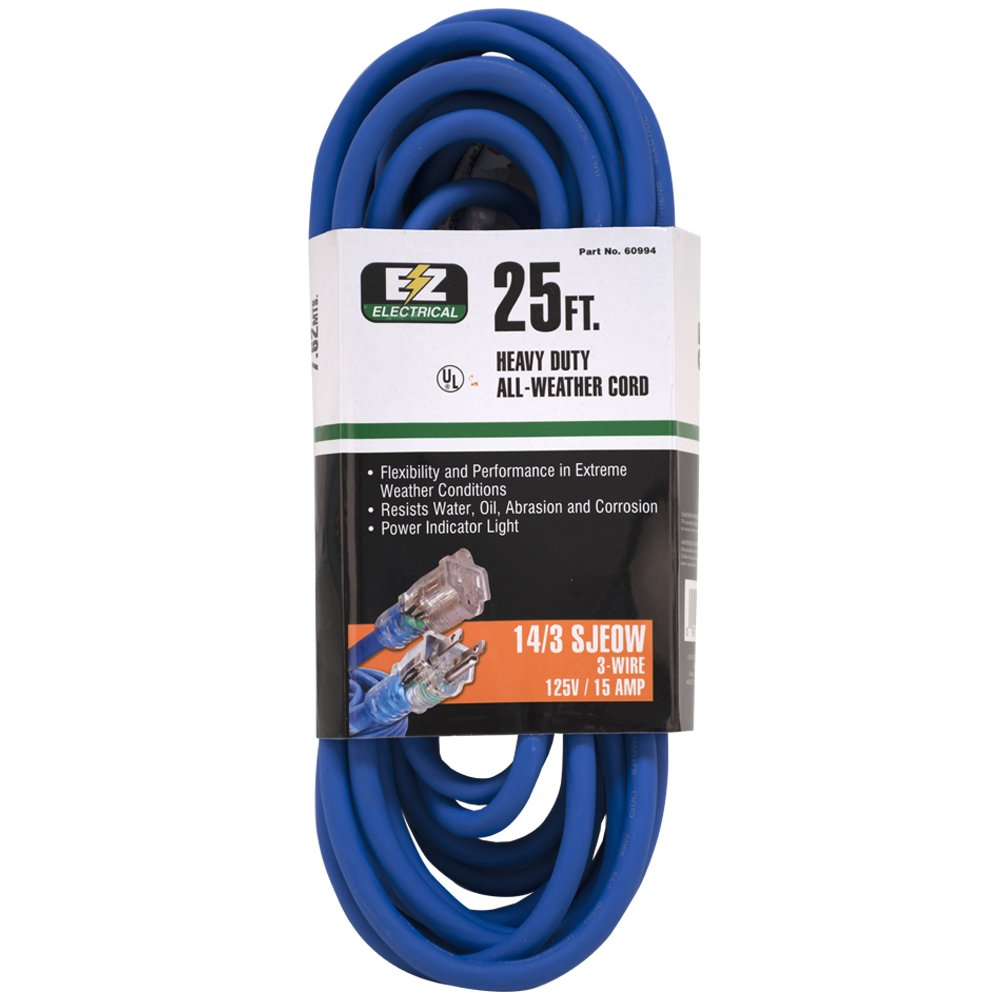 EZ-FLO 60994 EZ Electrical All-Weather with Indicator Lighted Power Extension Cable cord 25 Blue