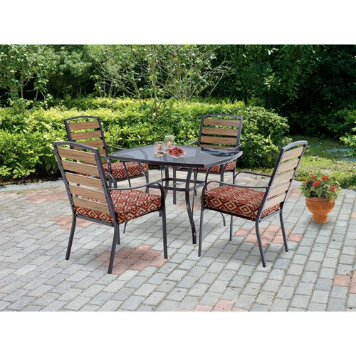 Mainstays Jackson Meadows 5 Piece Endurowood Patio Dining Set Seats 4 Home Patio And Furniture