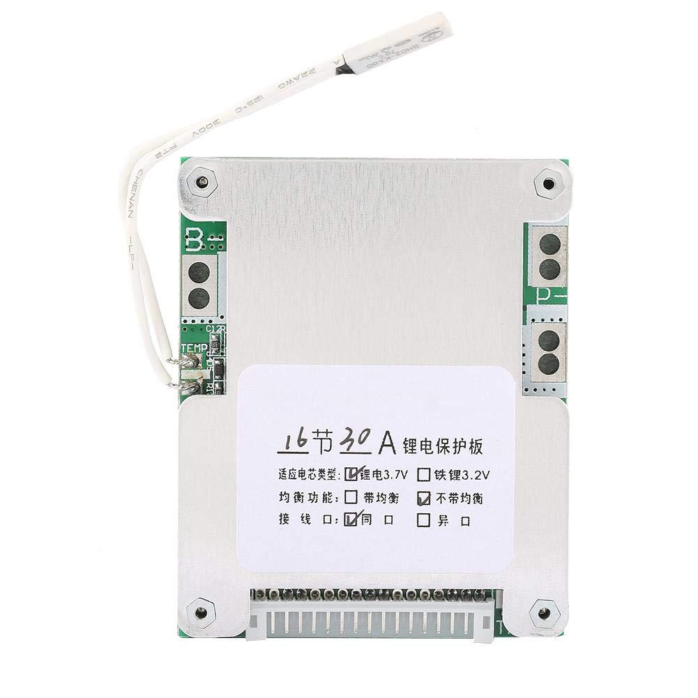 Carte de Protection de Batterie, Keenso Panneau de Protection de Batterie au Lithium Panneau de Carte de Circuit Imprimé BMS de Protection de Charge de Batterie 16S 30A