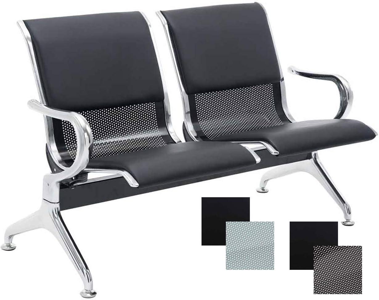 CLP Banco de Espera Airport en Cuero Sintético | Banco Robusto con Base de Metal | Banco con Reposabrazos | Color: Negro/Negro, 2 Plazas