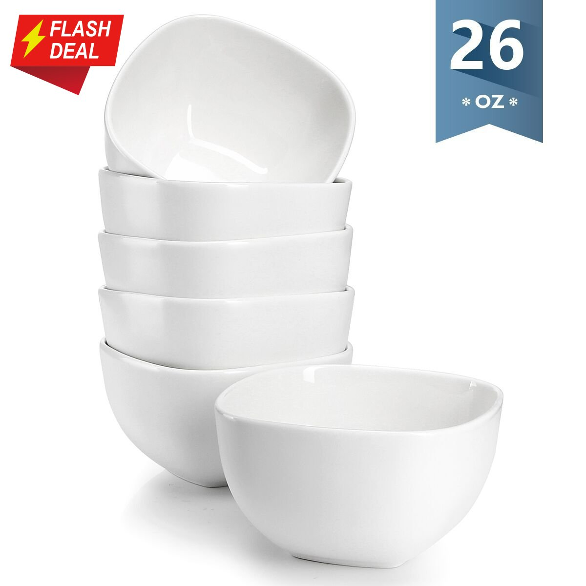 Sweese 1304 Porcelain Square Bowl Set - 26 Ounce Deep and Microwavable for Cereal, Soup and Fruit - Set of 6, Matte White