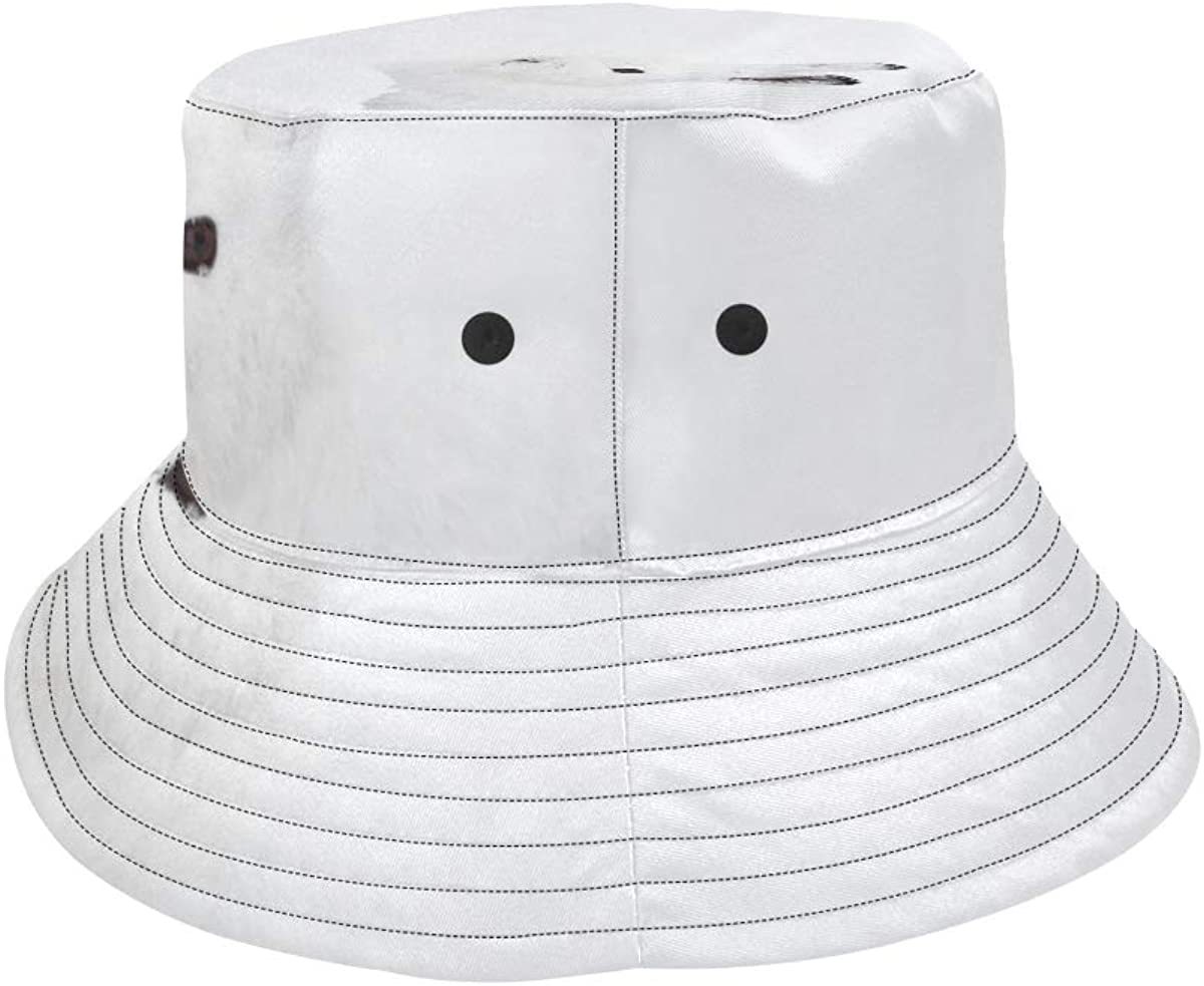 White Little Snow Rabbit New Summer Unisex Cotton Fashion Fishing Sun Bucket Hats for Kid Teens Women and Men with Customize Top Packable Fisherman Cap for Outdoor Travel