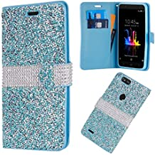 ZTE Blade Z Max Z982/ Sequoia Case,Customerfirst Diamond Pouch PU Leather Wallet Diamond Protector Cover (Teal)