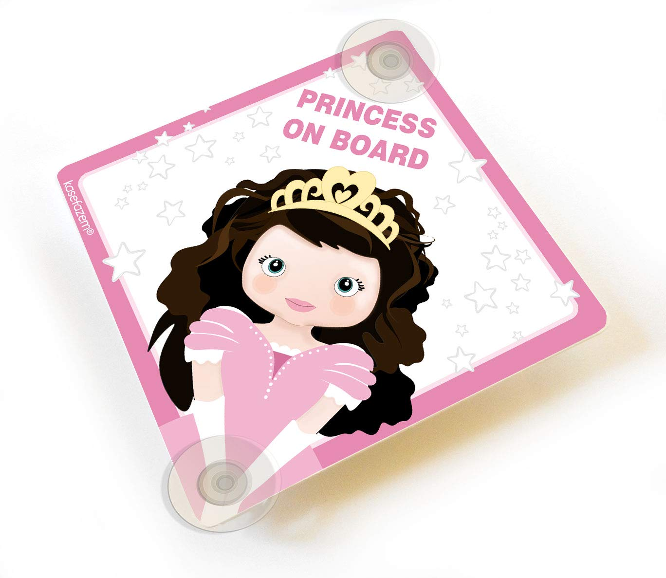 Personalized brunette Cute Princess on Board Pink Car Sign with Suction Cups