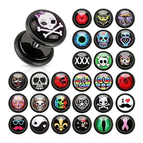 16G Clear Epoxy Dome Logo Print Inlay Black Acrylic Fake Plugs with O-Rings - Sold as 1 Coordinating Pair (Tiger)