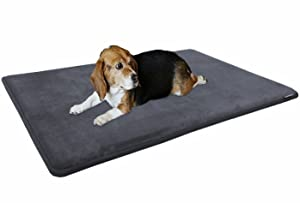 Dogbed4less Premium Gel-Infused Memory Foam Pet Mat with Velour Fleece Topper for Medium to Extra Large Dogs - Anti-Slip Waterproof Bottom
