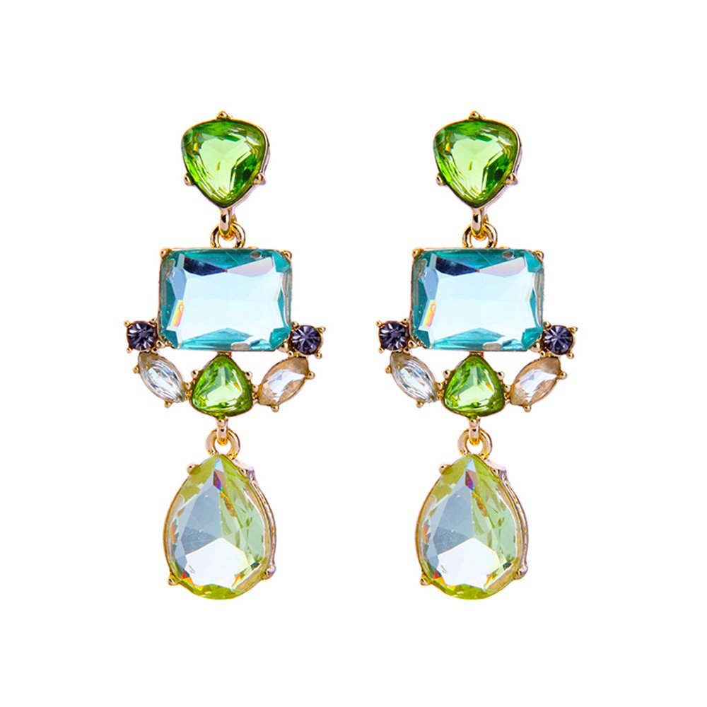 Green Crystal Earrings - Vintage Gold Plated Green Chandelier Earrings