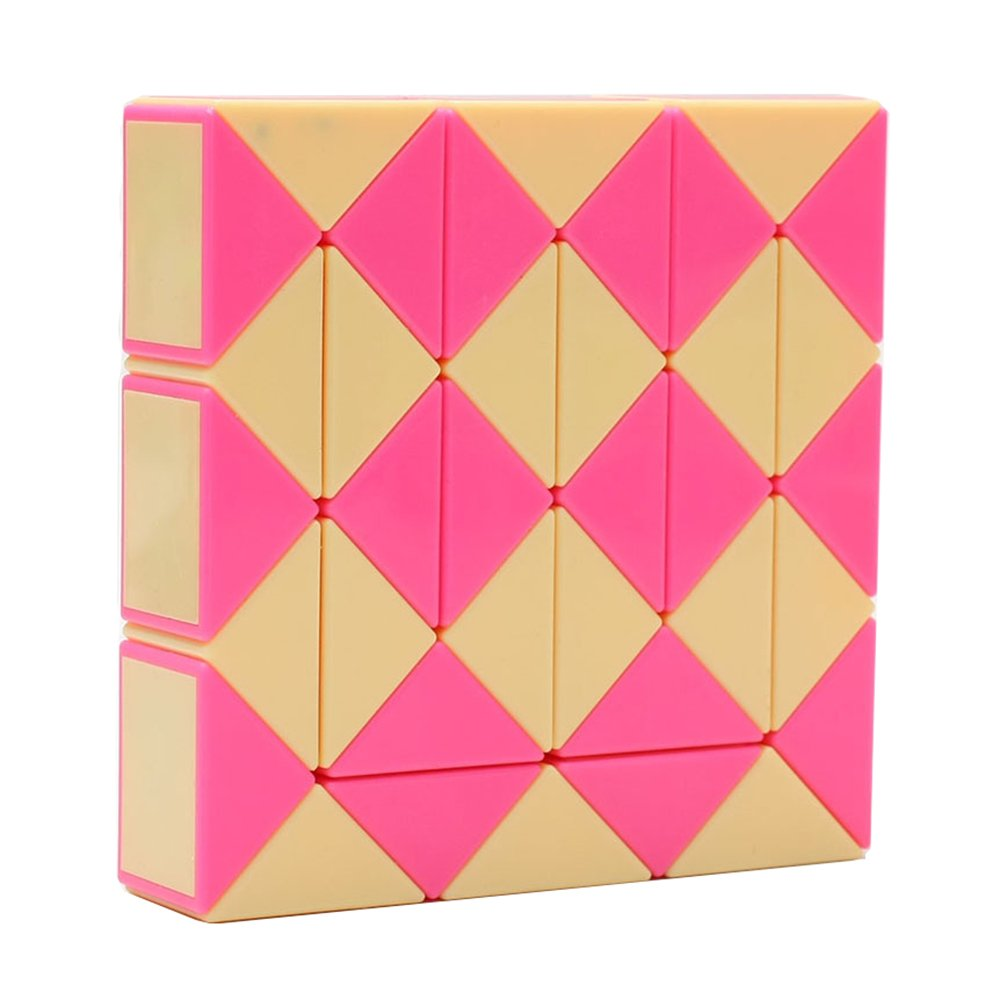 HJXD globle Magic Snake Twist Puzzle Twisty Toy Collection 36 Wedges Magic Ruler Pink