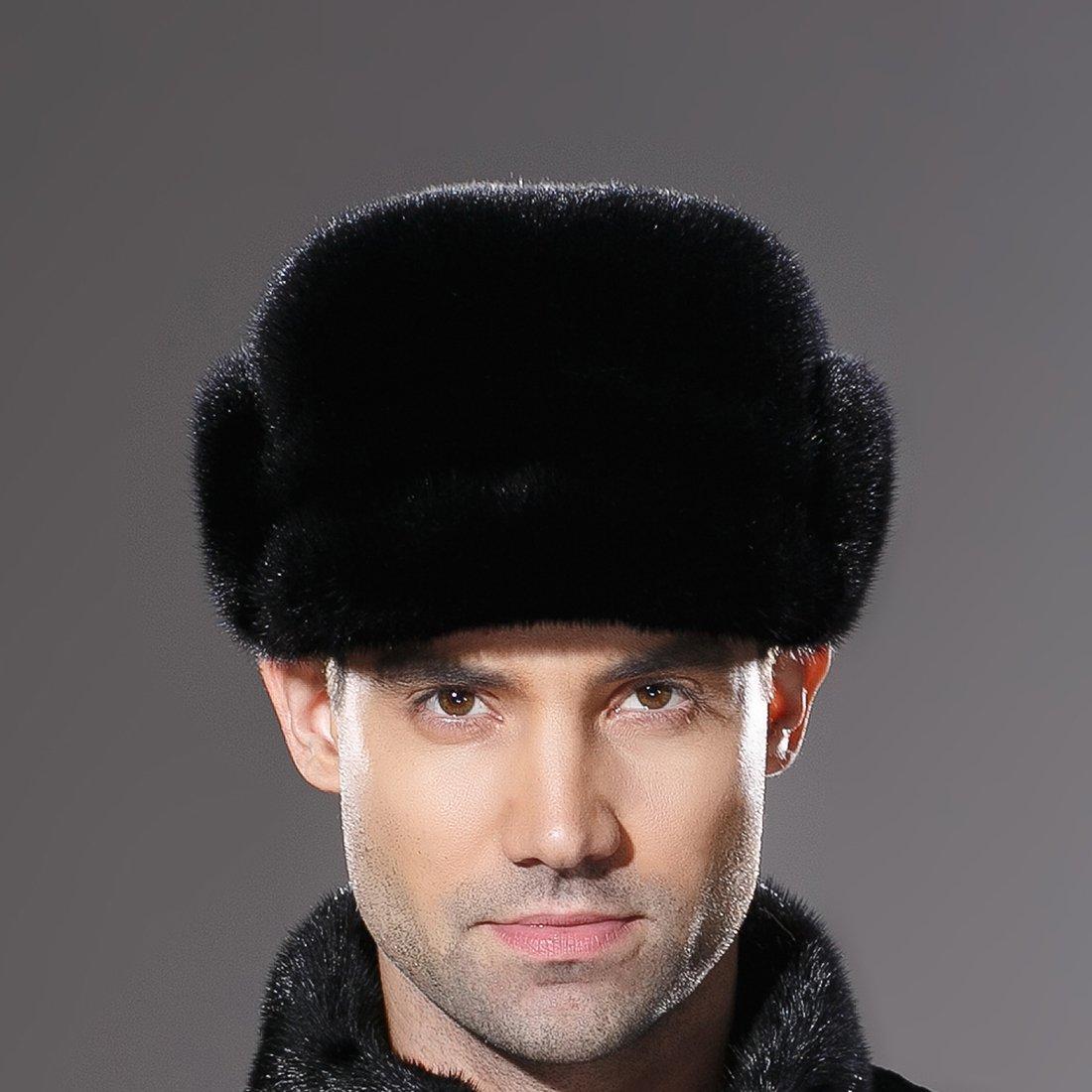 URSFUR Mne's Winter Fur Cap Genuine Mink Fur Fudd Hat Black M by URSFUR (Image #2)