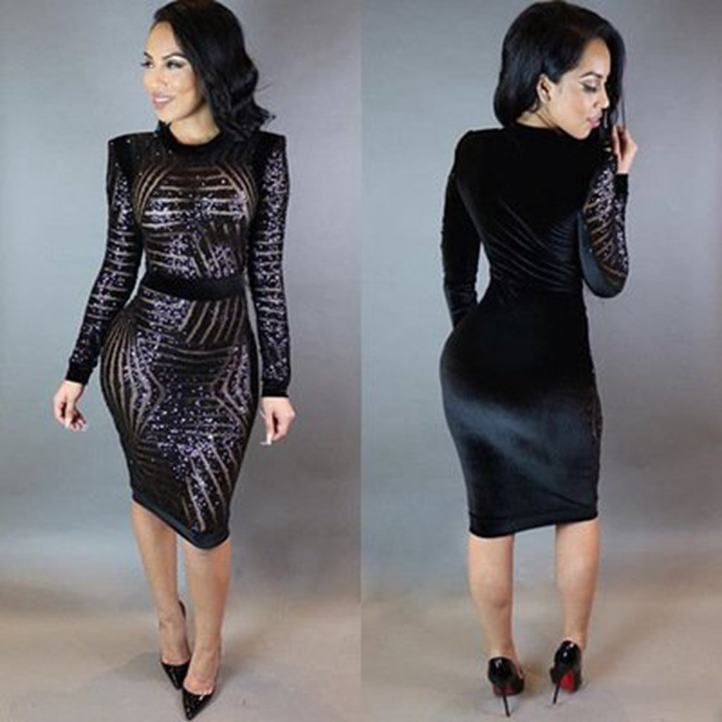 b4375ecd071 Amazon.com  Kearia Womens Sexy Black Sequin Scoop Neck Long Sleeve Bodycon  Party Midi Dress  Clothing