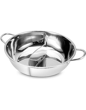 Ballylelly 30CM Easy Clean olla de acero inoxidable Hot Shabu Shabu cocina de cocción Durable estufa