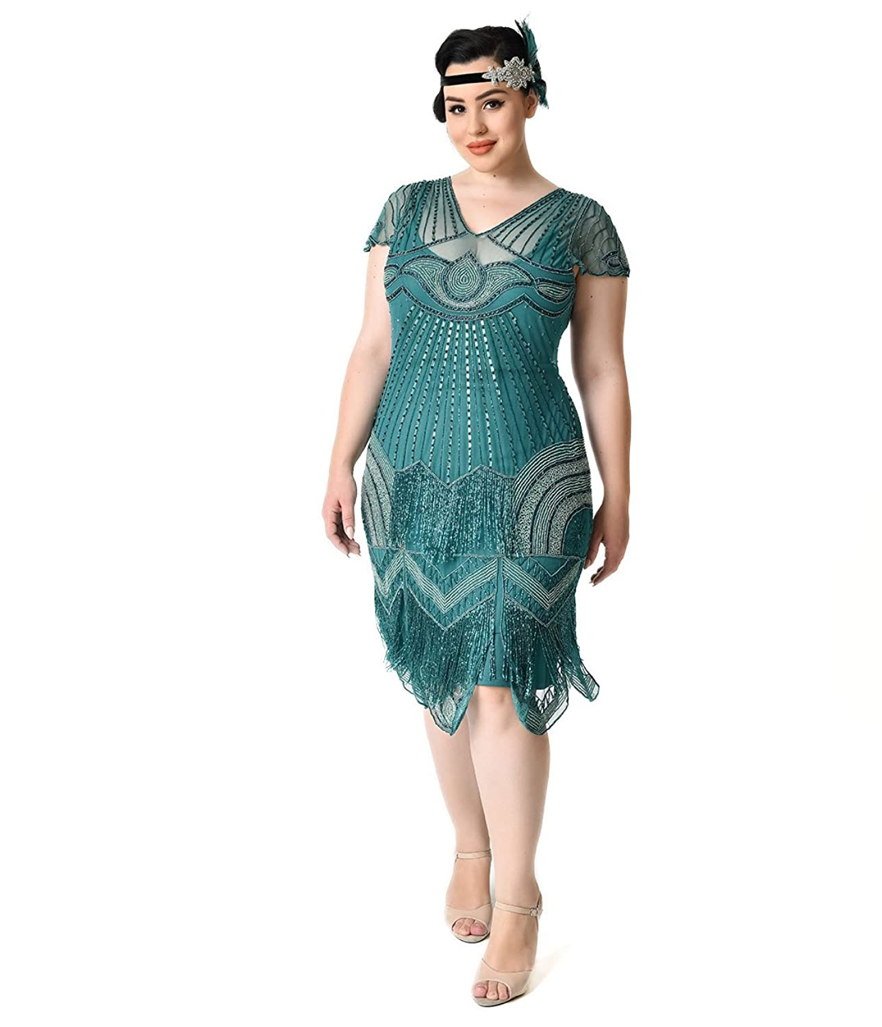 Plus Size 1920s Style Teal Beaded Deco Cap Sleeve Beatrice Flapper ...