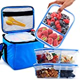 vegan lunch box - [3 Pack] Glass Meal Prep Containers BPA Free in Large Insulated Thermal Cooler Bag - Leakproof Compartments - Best Reusable Food Storage Container Set - Airtight Locking Lids - Soft Lunch Box Kit