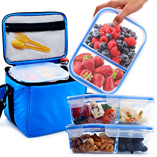 [3 Pack] Glass Meal Prep Containers BPA Free in Large Insulated Thermal Cooler Bag - Leakproof Compartments - Best Reusable Food Storage Container Set - Airtight Locking Lids - Soft - Times In Shops Best Square