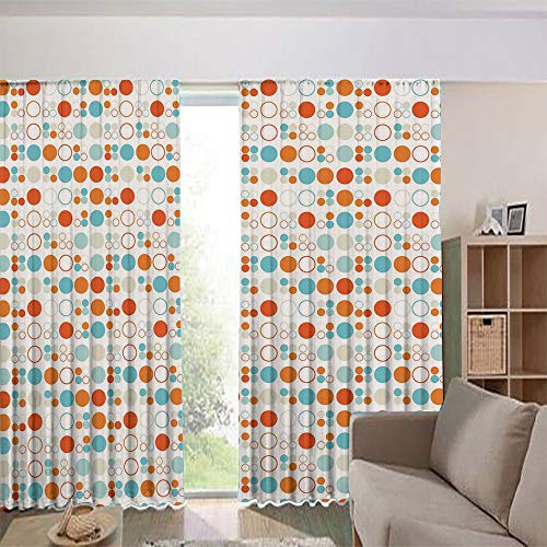 iPrint Bedroom/Living Room/Kids/Youth Room Curtain Panels,Drapes for Dining Room,Country Style,Circles Rings Ovals Rounds Baby Nursery Kids 108Wx63L Inch
