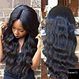 Sunwell 7A Brazilian Human Hair Glueless Lace Front Wig with Baby Hair - Ocean Wave Loose Body Wave Natural Color 130% Density 20 inch