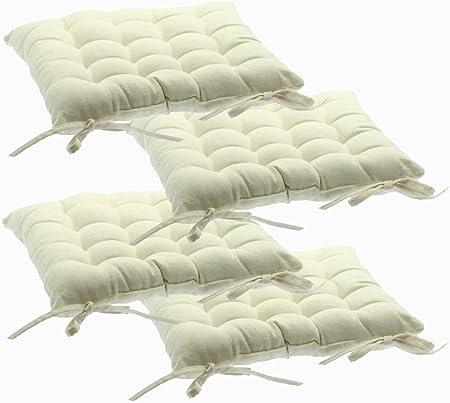 Set di 4 cuscini per sedie, con laccetti 38 x 38 cm Imbottiti, 100% cotone Color AVORIO