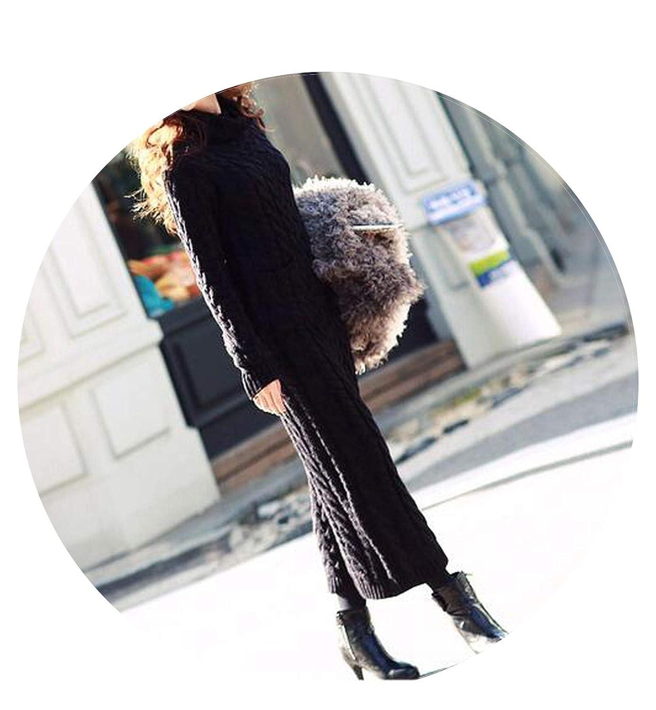 Black gao ling Women Winter Knit Dresses Long Sleeve Turtleneck Warm Maxi Sweater Dress Clothing