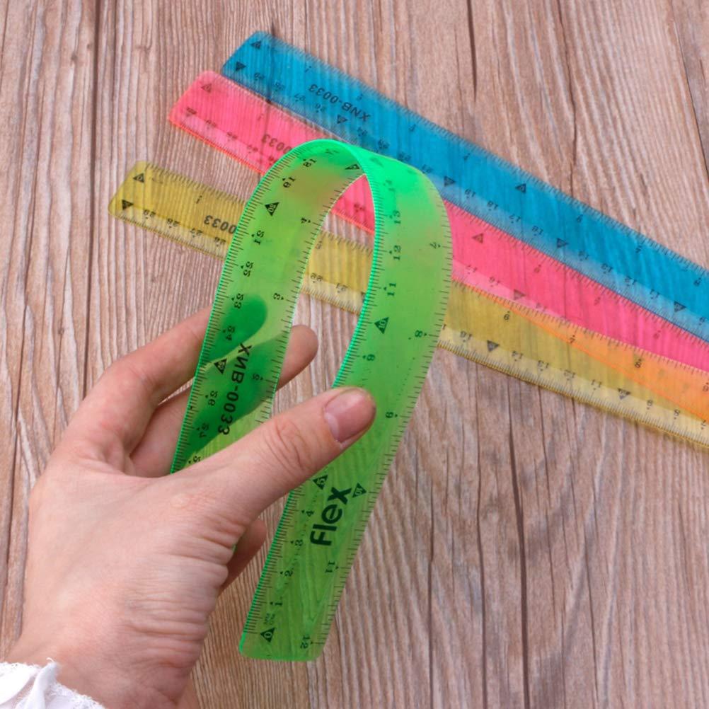 Colores al Azar YeahiBaby 1 unids Reglas de pl/ástico Herramientas de medici/ón Suave Estudiantes Escolares Flexibles papeler/ía Oficina Reglas de medici/ón