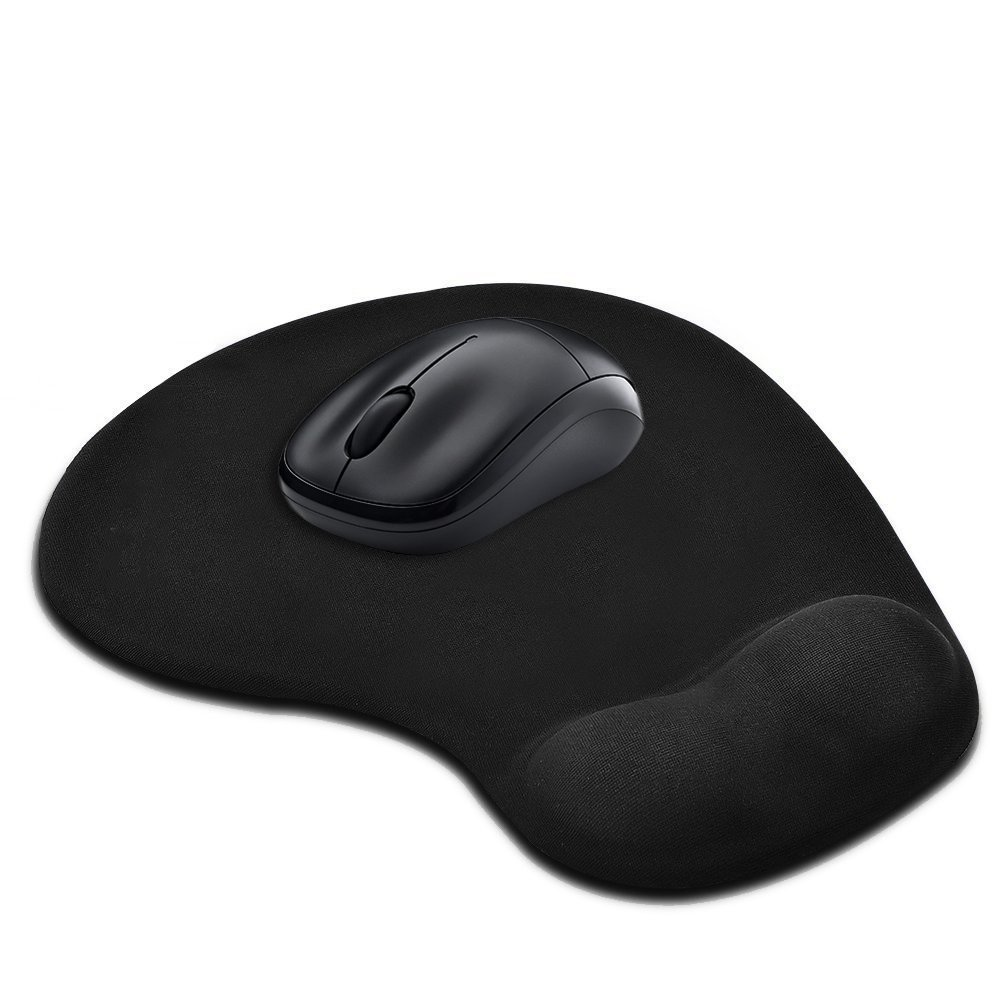 GIM Black Silicone Gel Wrist Support Mouse Pad Mat for Laptop Desktop Ergonomic Mouse Pad with Wrist Support Non-Slip Rubber Base